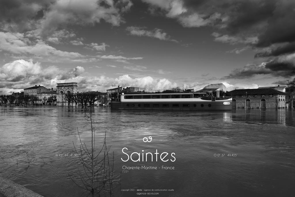 Saintes inondation 2021 Arc de germanicus - Charente